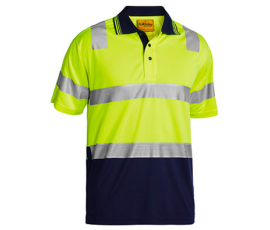3m Taped Hi Vis Two Tone Micromesh Polo Shirt Short Sleeve Yel